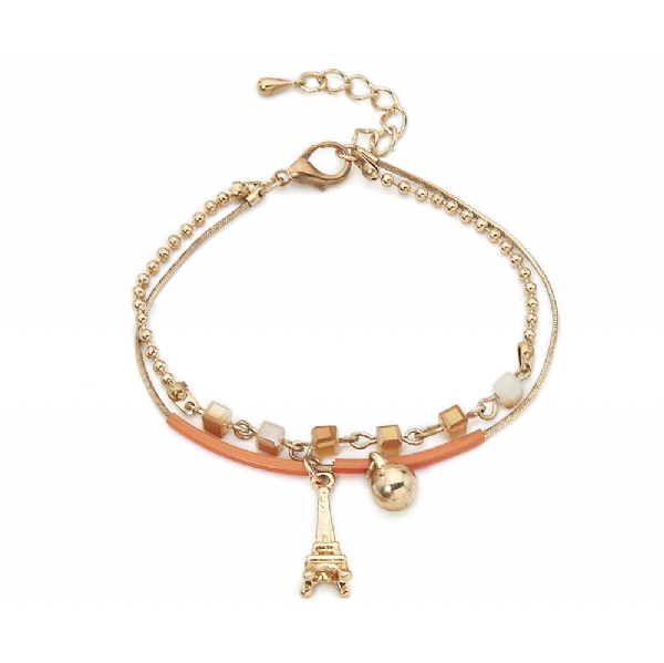 Taste of Paris gold tone and orange leather bracelet